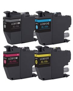 Compatible High Yield  Set of 4 Ink Cartridges for Brother LC3013: 1 each Black, Magenta, Cyan, Yellow