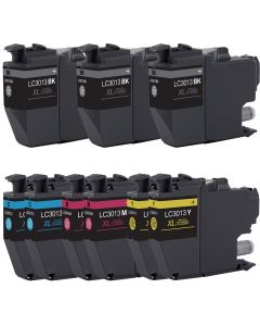 Compatible High Yield Set of 9 Ink Cartridges for Brother LC3013: 3 Black and 2 each Magenta, Cyan, Yellow Cartridges