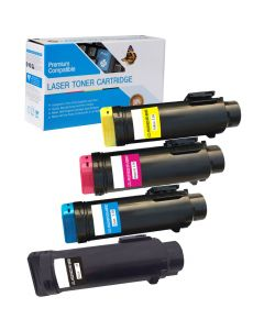 Compatible Dell H625, H825, S2825 Set of 4 Toners: 1 each Black, Cyan, Magenta, Yellow