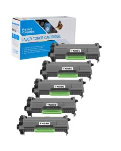 Compatible Brother TN880 Toner Cartridges - 5 pack