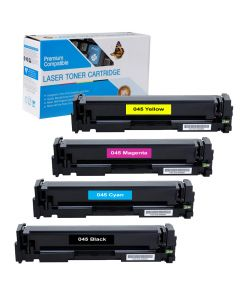 Compatible Canon 045 Set of 4 Toners: 1 each Black, Cyan, Magenta, Yellow