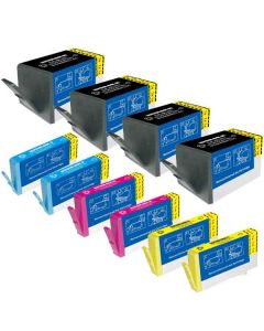 KLM Remanufactured HP 934XL and 935XL Set of 10 Ink Cartridges: 4 Black + 2 Each Cyan, Magenta, Yellow