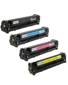 Compatible Canon 131A Set of 4 Toners: 1 each Black, Cyan, Magenta, Yellow