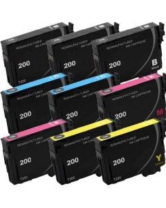 KLM Remanufactured Set of 9 Epson T200 Ink Cartridges: 3 Black and 2 each Cyan, Magenta and Yellow Cartridges