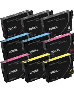KLM Remanufactured Set of 9 Epson T200XL Ink Cartridges: 3 Black and 2 each Cyan, Magenta and Yellow Cartridges