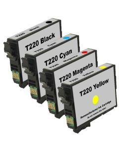 KLM Remanufactured Set of 4 Epson Ink Cartridges: 1 each T220120, T220220, T220320, T220420 Cartridges