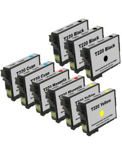 Remanufactured Set of 9 Ink Cartridges for Epson 220: 3 Black and 2 each of Cyan, Magenta, Yellow