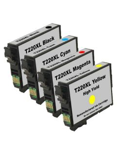 Remanufactured Set of 4 Epson 220XL Ink Cartridges: 1 each Black, Cyan, Magenta and Yellow Cartridges