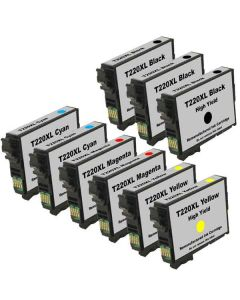 KLM Remanufactured Set of 9 Epson T220XL Ink Cartridges: 3 Black and 2 each Cyan, Magenta and Yellow Cartridges