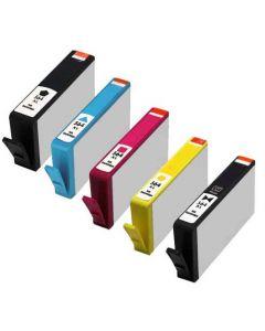 Set of 5 KLM Remanufactured HP 564XL Ink Cartridges - 1 Each Black, Cyan, Magenta, Yellow, Photo Black