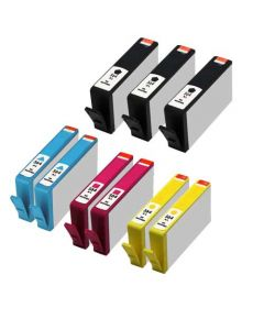 Set of 9 KLM Remanufactured HP 564XL Ink Cartridges - 3 Black and 2 Each Cyan, Magenta, Yellow