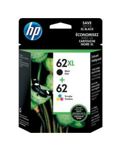 HP 62XL/62 Black/Tricolor Genuine Ink Cartridges (N9H67FN), Pack Of 2 Cartridges