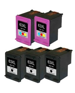 KLM Remanufactured  Set of 5 for HP 63XL: 3 Black and 2 Color Cartridges