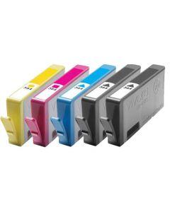 Set of 5 KLM Remanufactured HP 564 Ink Cartridges - 1 Each Black, Cyan, Magenta, Yellow, Photo Black