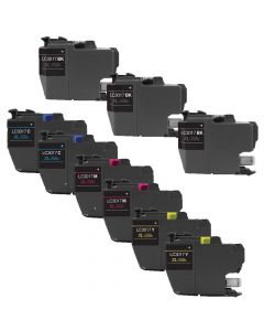Compatible Set of 9 for Brother LC3017: 3 Black and 2 each Magenta, Cyan, Yellow Cartridges