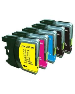 Compatible Set of 5 for Brother LC61: 2 Black and 1 each Magenta, Cyan, Yellow Cartridges