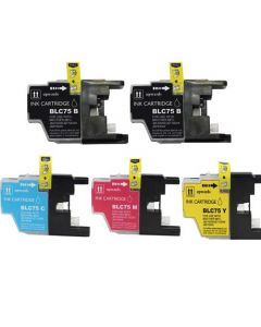 Compatible Set of 5 for Brother LC75: 2 Black and 1 each Magenta, Cyan, Yellow cartridges