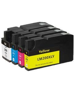 KLM Remanufactured Lexmark 200XL cartridge set of 4: 1 each Black, Cyan, Magenta, Yellow