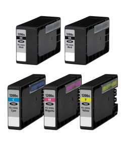 Compatible Canon PGI-1200XL set of 5 Ink Cartridges: 2 black and 1 each of Cyan, Magenta, Yellow