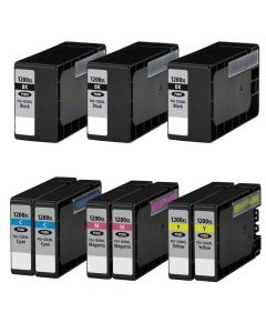 Compatible Canon PGI-1200XL set of 9 Ink Cartridges: 3 black and 2 each of Cyan, Magenta, Yellow