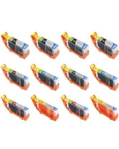 Set of 12 Compatible for Canon PGI-225 and CLI-226 Ink Cartridges 4 PGI-225 2 Each CLI-226 B,C,M,Y