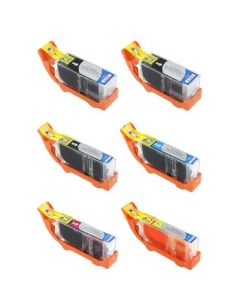 Set of 6 Compatible for Canon PGI-225 and CLI-226 Ink Cartridges 2 PGI-225 1 Each CLI-226 B,C,M,Y