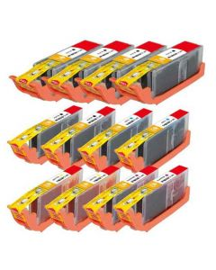 Compatible for Canon PGI-250XL & CLI-251XL Set of 12 Ink Cartridges: 4 Black and 2 of each Black, Cyan, Magenta, Yellow