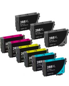 KLM Remanufactured Set of 9 for Epson T288XL: 3 Black and 2 each Magenta, Cyan, Yellow Ink Cartridges