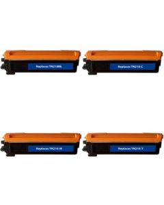 Set of 4 Compatible Brother TN210BK, TN210C, TN210M, TN210Y Toner Cartridges